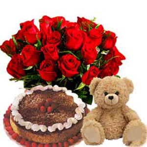 20 Red Roses, 2ft Teddy and 1/2kg Blackforrest cake